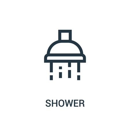 shower icon vector from gym collection. Thin line shower outline icon vector illustration. Linear symbol for use on web and mobile apps, logo, print media. Illustration