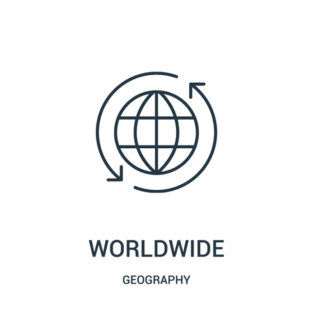 worldwide icon vector from geography collection. Thin line worldwide outline icon vector illustration. Linear symbol for use on web and mobile apps, logo, print media.