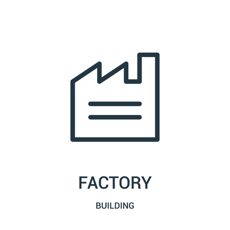 factory icon vector from building collection. Thin line factory outline icon vector illustration. Linear symbol for use on web and mobile apps, logo, print media.