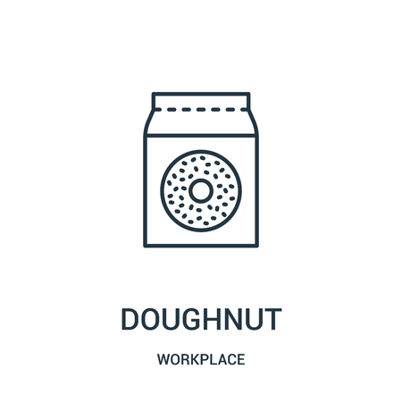 doughnut icon vector from workplace collection. Thin line doughnut outline icon vector illustration. Linear symbol for use on web and mobile apps, logo, print media.