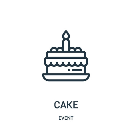cake icon vector from event collection. Thin line cake outline icon vector illustration. Linear symbol for use on web and mobile apps, logo, print media. Çizim
