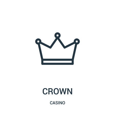 crown icon vector from casino collection. Thin line crown outline icon vector illustration. Linear symbol for use on web and mobile apps, logo, print media. 矢量图像