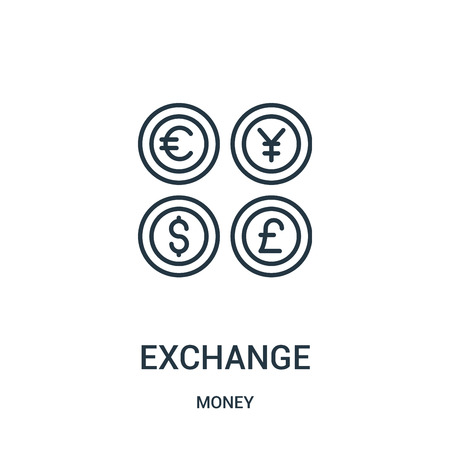 exchange icon vector from money collection. Thin line exchange outline icon vector illustration. Linear symbol for use on web and mobile apps, logo, print media.