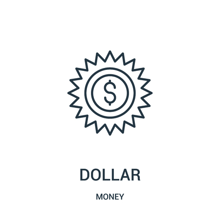 dollar icon vector from money collection. Thin line dollar outline icon vector illustration. Linear symbol for use on web and mobile apps, logo, print media.