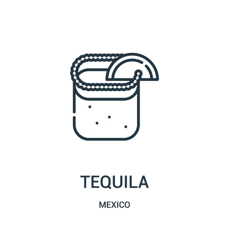 tequila icon vector from mexico collection. Thin line tequila outline icon vector illustration. Linear symbol for use on web and mobile apps, logo, print media. Stock Vector - 123473629