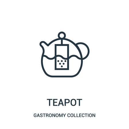 teapot icon vector from gastronomy collection collection. Thin line teapot outline icon vector illustration. Linear symbol for use on web and mobile apps, logo, print media.