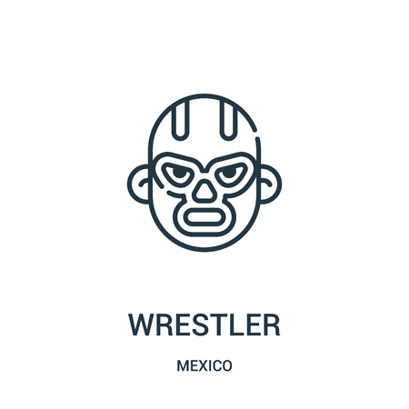 wrestler icon vector from mexico collection. Thin line wrestler outline icon vector illustration. Linear symbol for use on web and mobile apps, logo, print media.