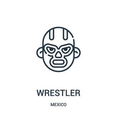 Wrestler-Symbolvektor aus der Mexiko-Sammlung. Dünne Linie Wrestler Umriss Symbol Vektor-Illustration. Lineares Symbol für die Verwendung in Web- und mobilen Apps, Logo, Printmedien.