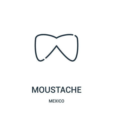 moustache icon vector from mexico collection. Thin line moustache outline icon vector illustration. Linear symbol for use on web and mobile apps, logo, print media.