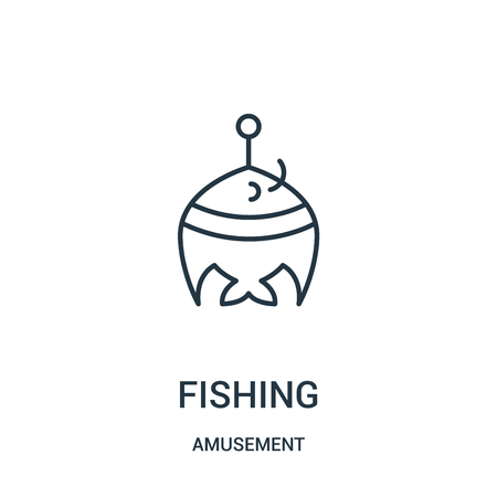 fishing icon vector from amusement collection. Thin line fishing outline icon vector illustration. Linear symbol for use on web and mobile apps, logo, print media.
