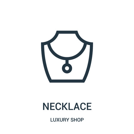 necklace icon vector from luxury shop collection. Thin line necklace outline icon vector illustration. Linear symbol for use on web and mobile apps, logo, print media. Stok Fotoğraf - 124037235