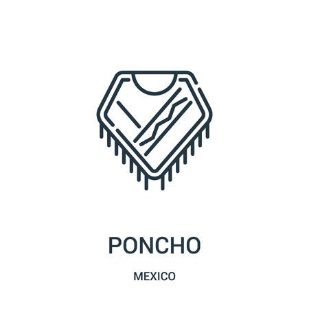 poncho icon vector from mexico collection. Thin line poncho outline icon vector illustration. Linear symbol for use on web and mobile apps, logo, print media.