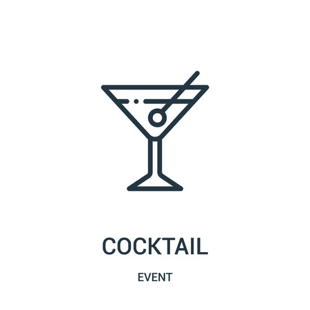 cocktail icon vector from event collection. Thin line cocktail outline icon vector illustration. Linear symbol for use on web and mobile apps, logo, print media. Stock Vector - 123473350