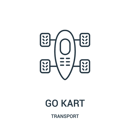 go kart icon vector from transport collection. Thin line go kart outline icon vector illustration. Linear symbol for use on web and mobile apps, logo, print media. Çizim