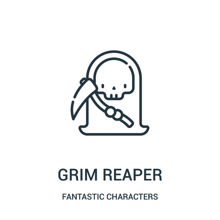 grim reaper icon vector from fantastic characters collection. Thin line grim reaper outline icon vector illustration. Linear symbol for use on web and mobile apps, logo, print media.
