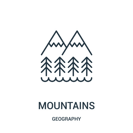 mountains icon vector from geography collection. Thin line mountains outline icon vector illustration. Linear symbol for use on web and mobile apps, logo, print media. Ilustrace