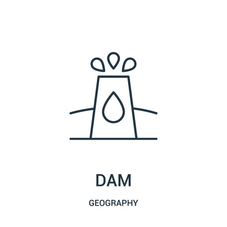 dam icon vector from geography collection. Thin line dam outline icon vector illustration. Linear symbol for use on web and mobile apps, logo, print media. Illustration