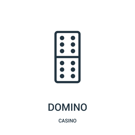 domino icon vector from casino collection. Thin line domino outline icon vector illustration. Linear symbol for use on web and mobile apps, logo, print media.