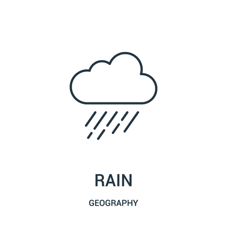 rain icon vector from geography collection. Thin line rain outline icon vector illustration. Linear symbol for use on web and mobile apps, logo, print media.