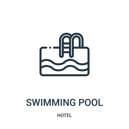 swimming pool icon vector from hotel collection. Thin line swimming pool outline icon vector illustration. Linear symbol for use on web and mobile apps, logo, print media.