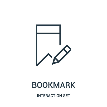 bookmark icon vector from interaction set collection. Thin line bookmark outline icon vector illustration. Linear symbol for use on web and mobile apps, logo, print media.