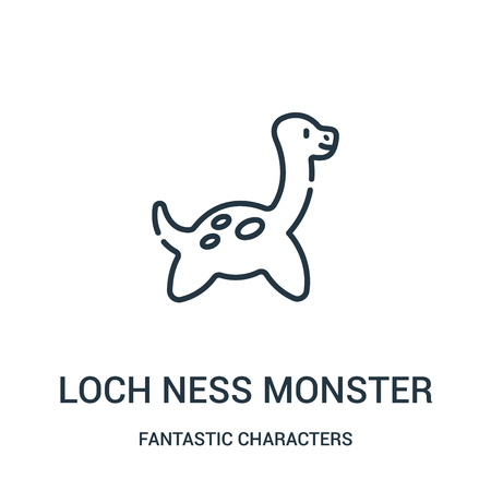 loch ness monster icon vector from fantastic characters collection. Thin line loch ness monster outline icon vector illustration. Linear symbol for use on web and mobile apps, logo, print media. Illustration