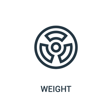 weight icon vector from gym collection. Thin line weight outline icon vector illustration. Linear symbol for use on web and mobile apps, logo, print media.