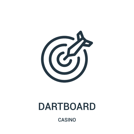 dartboard icon vector from casino collection. Thin line dartboard outline icon vector illustration. Linear symbol for use on web and mobile apps, logo, print media. Logo