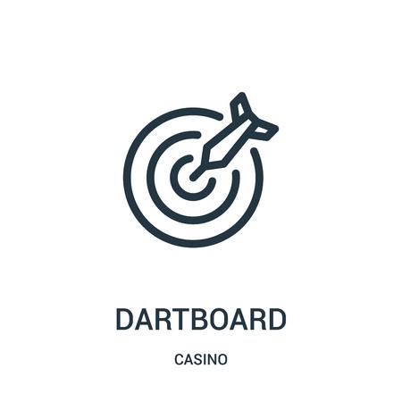 vecteur d'icône de jeu de fléchettes de la collection de casino. Fine ligne fléchettes contour icône illustration vectorielle. Symbole linéaire à utiliser sur les applications Web et mobiles, le logo, les supports imprimés. Logo