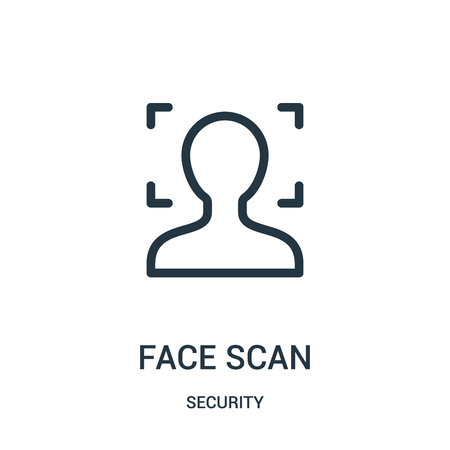 face scan icon vector from security collection. Thin line face scan outline icon vector illustration. Linear symbol for use on web and mobile apps, logo, print media. Illustration