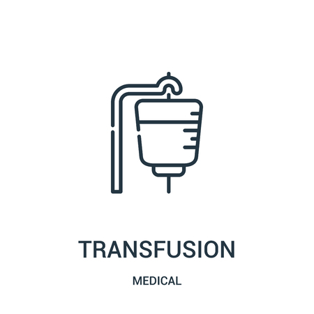 transfusion icon vector from medical collection. Thin line transfusion outline icon vector illustration. Linear symbol for use on web and mobile apps, logo, print media.