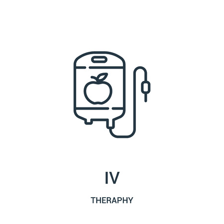 iv icon vector from theraphy collection. Thin line iv outline icon vector illustration. Linear symbol for use on web and mobile apps, logo, print media.