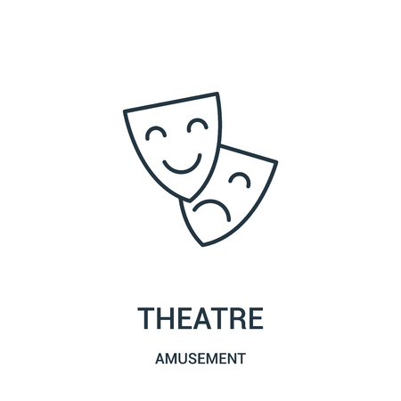 theatre icon vector from amusement collection. Thin line theatre outline icon vector illustration. Linear symbol for use on web and mobile apps, logo, print media.
