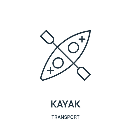 kayak icon vector from transport collection. Thin line kayak outline icon vector illustration. Linear symbol for use on web and mobile apps, logo, print media.