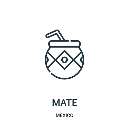 mate icon vector from mexico collection. Thin line mate outline icon vector illustration. Linear symbol for use on web and mobile apps, logo, print media.