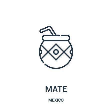 Mate-Symbolvektor aus der Mexiko-Sammlung. Dünne Linie Kumpel Umriss Symbol Vektor-Illustration. Lineares Symbol für die Verwendung in Web- und mobilen Apps, Logo, Printmedien. Logo