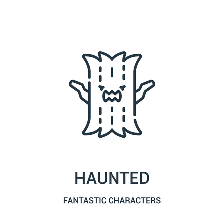 haunted icon vector from fantastic characters collection. Thin line haunted outline icon vector illustration. Linear symbol for use on web and mobile apps, logo, print media.
