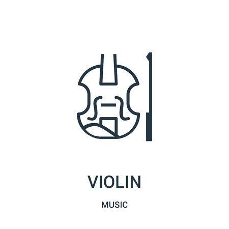 violin icon vector from music collection. Thin line violin outline icon vector illustration. Linear symbol for use on web and mobile apps, logo, print media.