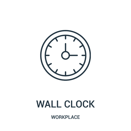 wall clock icon vector from workplace collection. Thin line wall clock outline icon vector illustration. Linear symbol for use on web and mobile apps, logo, print media.