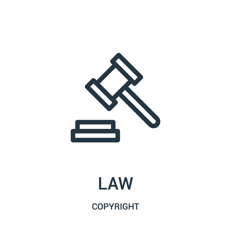 law icon vector from copyright collection. Thin line law outline icon vector illustration. Linear symbol for use on web and mobile apps, logo, print media.