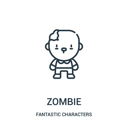zombie icon vector from fantastic characters collection. Thin line zombie outline icon vector illustration. Linear symbol for use on web and mobile apps, logo, print media.