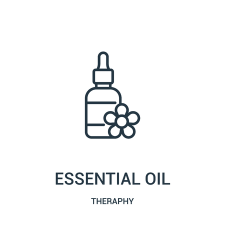 essential oil icon vector from theraphy collection. Thin line essential oil outline icon vector illustration. Linear symbol for use on web and mobile apps, logo, print media. Фото со стока - 123468578