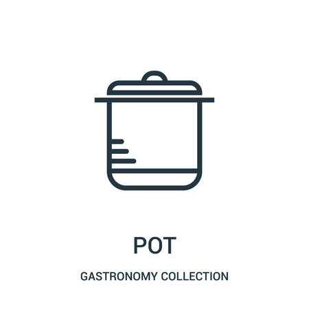 pot icon vector from gastronomy collection collection. Thin line pot outline icon vector illustration. Linear symbol for use on web and mobile apps, logo, print media.