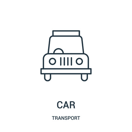 car icon vector from transport collection. Thin line car outline icon vector illustration. Linear symbol for use on web and mobile apps, logo, print media.