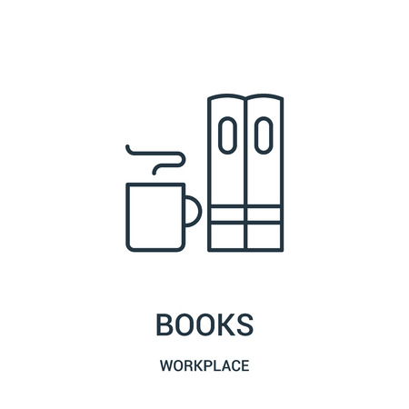 books icon vector from workplace collection. Thin line books outline icon vector illustration. Linear symbol for use on web and mobile apps, logo, print media.