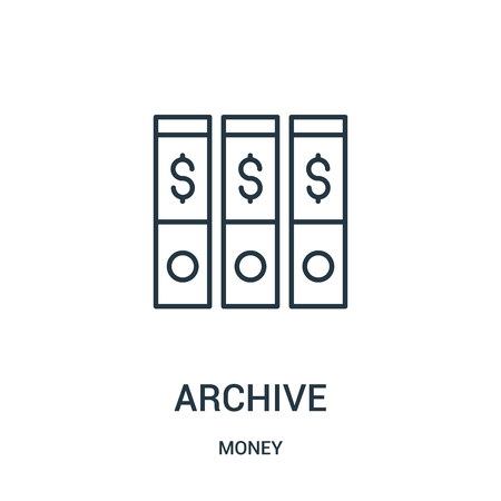 archive icon vector from money collection. Thin line archive outline icon vector illustration. Linear symbol for use on web and mobile apps, logo, print media.