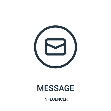message icon vector from influencer collection. Thin line message outline icon vector illustration. Linear symbol for use on web and mobile apps, logo, print media.
