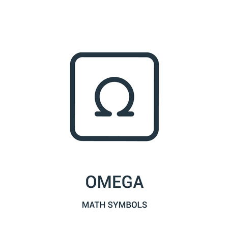 omega icon vector from math symbols collection. Thin line omega outline icon vector illustration. Linear symbol for use on web and mobile apps, logo, print media.