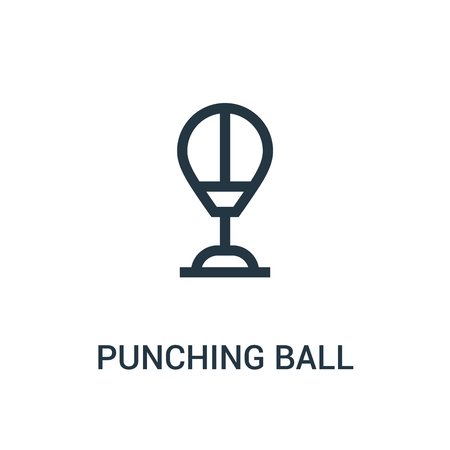 punching ball icon vector from gym collection. Thin line punching ball outline icon vector illustration. Linear symbol for use on web and mobile apps, logo, print media.