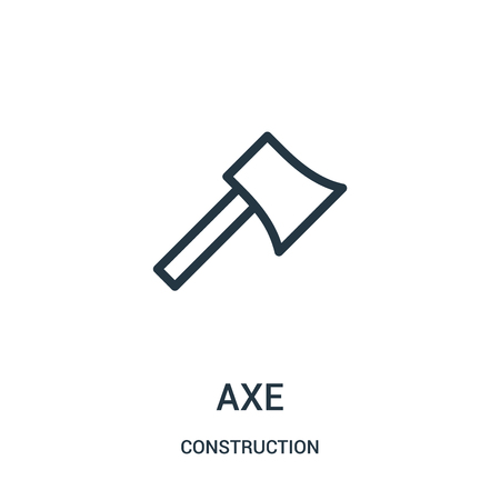 axe icon vector from construction collection. Thin line axe outline icon vector illustration. Linear symbol for use on web and mobile apps, logo, print media.